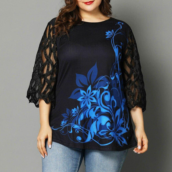 Floral Print Netted Sleeves Top - Dots Clothing Store