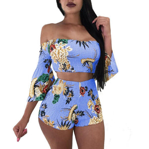 Floral Print Off Shoulder Crop Top + Elastic Waist Shorts - Dots Clothing Store