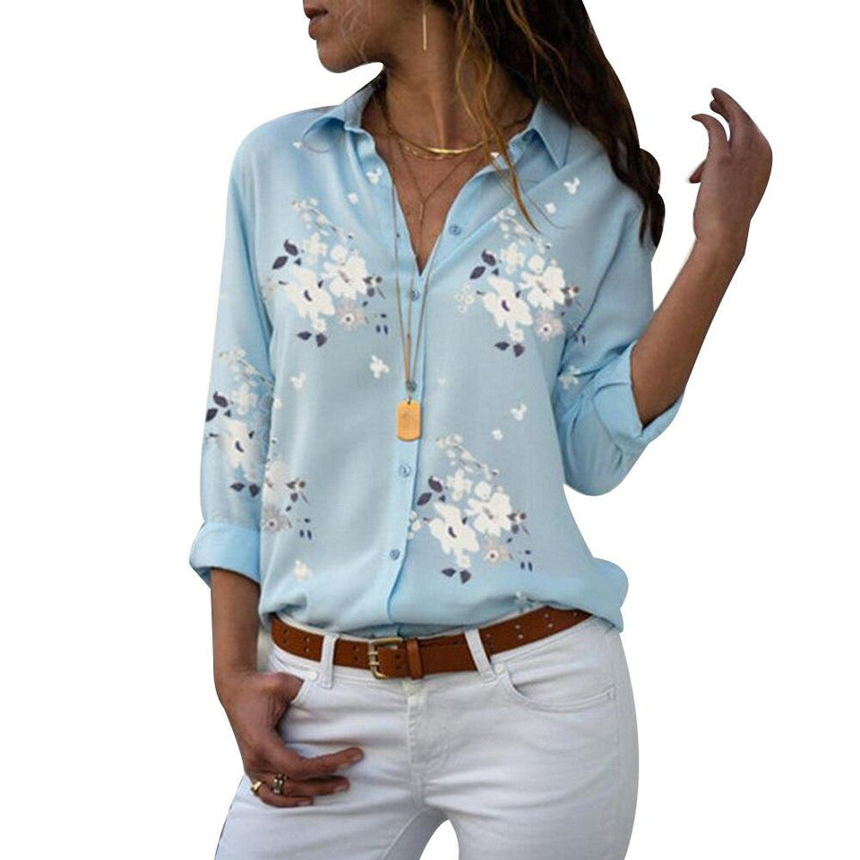 Floral Print Quarter Sleeve Chiffon Top - Dots Clothing Store