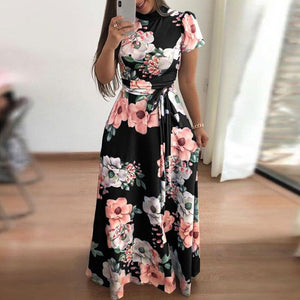 Floral Print Sleeveless Maxi Dress - Dots Clothing Store