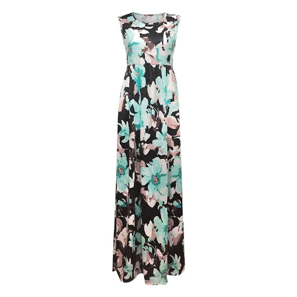Floral Print Sleeveless Suspender A-Line Long Dress - Dots Clothing Store
