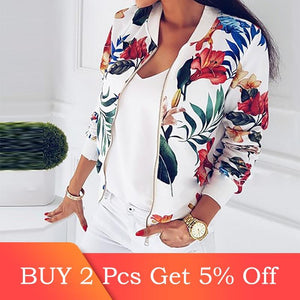 Floral Printed Spring Women's Jackets Plus Size Short Female Coat Zipper Chaqueta Long Sleeve Women Bomber Jacket - Dots Clothing Store