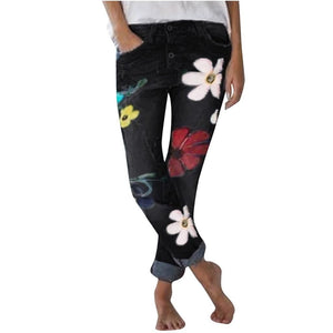 Flowers parade loose denim jeans - Dots Clothing Store