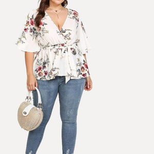 Flowery plus size loose blouse - Dots Clothing Store