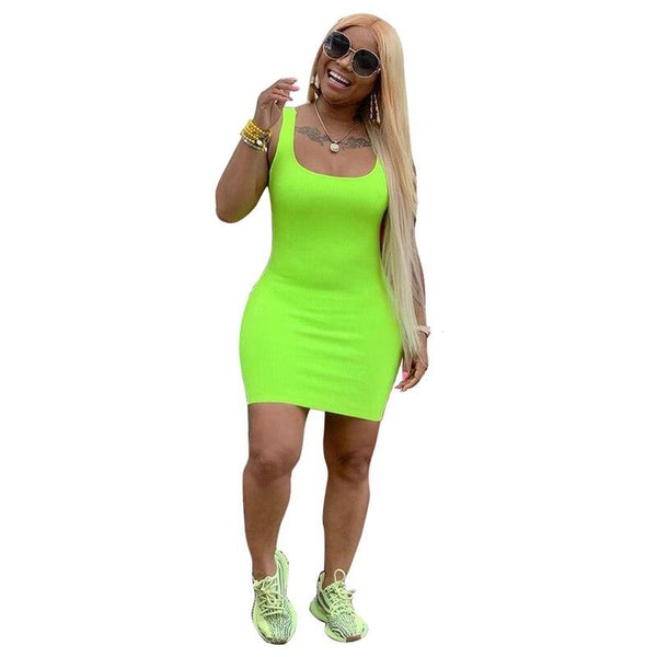 Fluorescence Sleeveless Mini Tank Dress - Dots Clothing Store