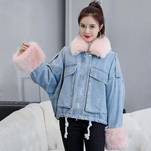 Fur Fringed Denim Jacket - Dots Clothing Store