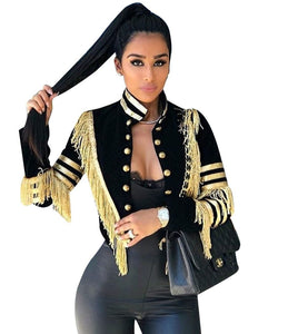 Gold Tassels Military Style Jacket - Dots Clothing Store