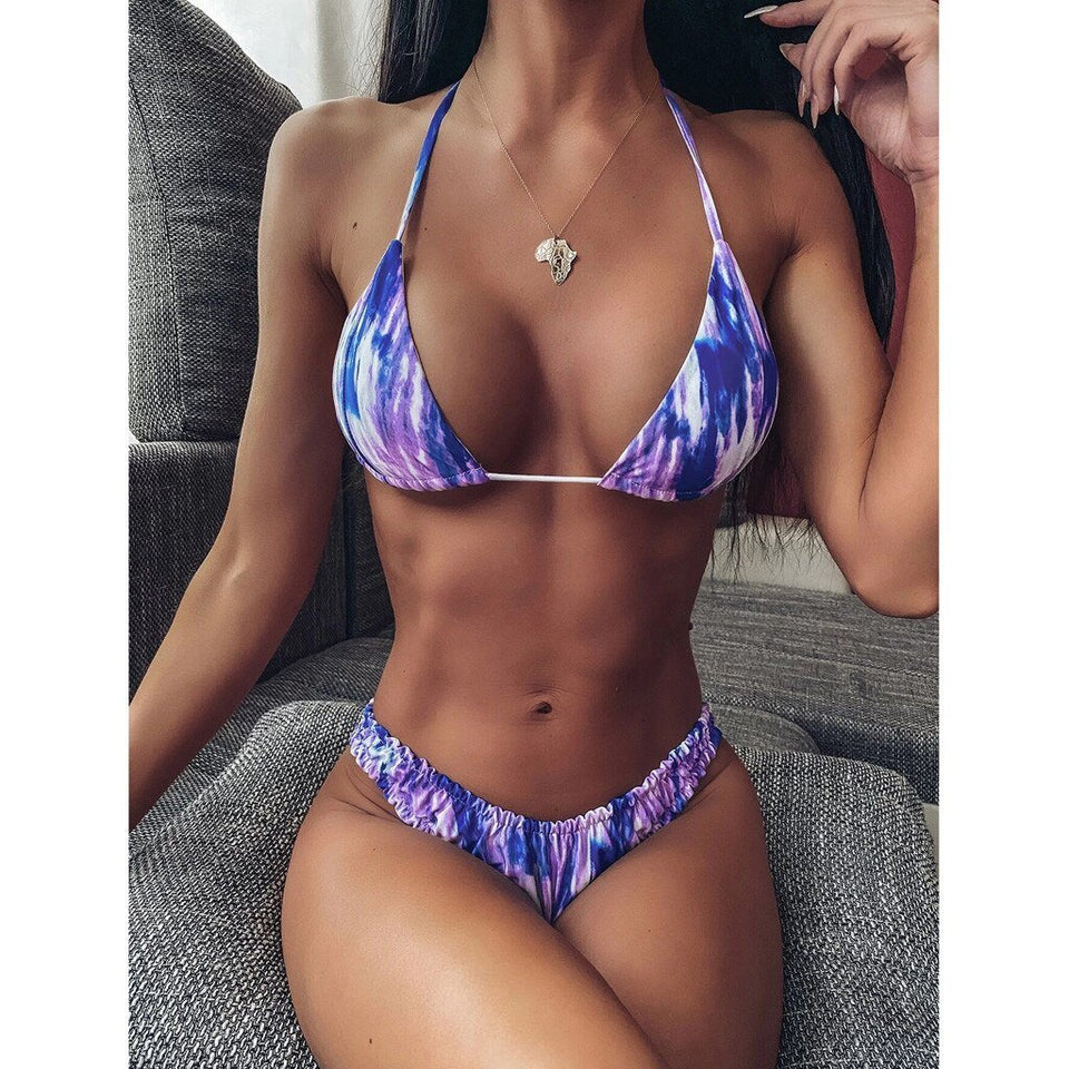 Gradient Print Push-Up Swimsuit - Dots Clothing Store