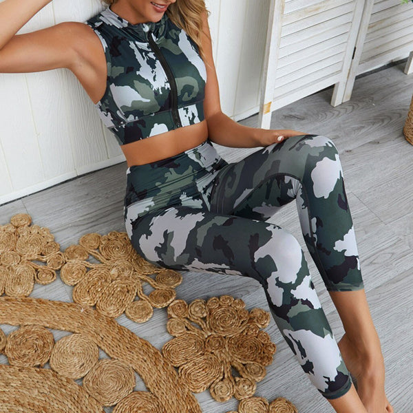 Green Camouflage Zipper Crop Top and High Waist Pants - Dots Clothing Store