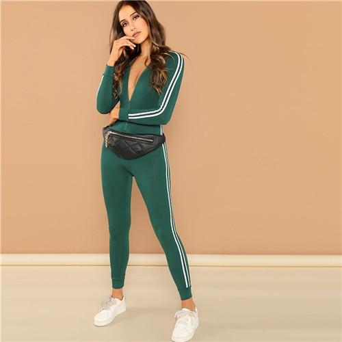 Green Raglan Sleeve Striped Side Jumpsuit - Dots Clothing Store