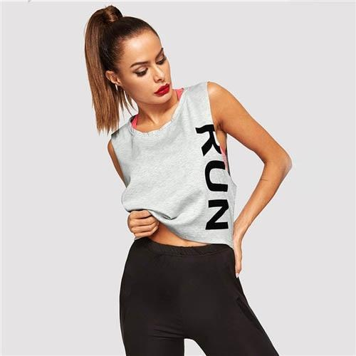 Grey Letter Print Round Neck Top - Dots Clothing Store