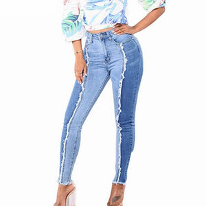 Half and half elastic high waist jeans - Dots Clothing Store