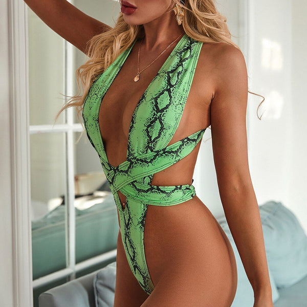 Halter Snake Print Cross Bandage Swimsuit - Dots Clothing Store