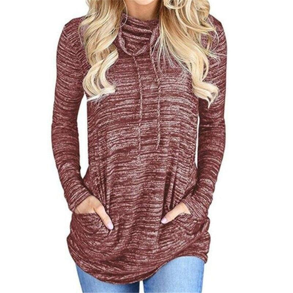 Heathered Casual Turtleneck Top - Dots Clothing Store
