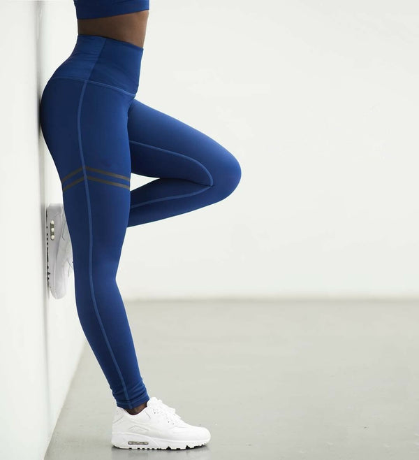 High Waist Athletic Striped Yoga Pants - Dots Clothing Store