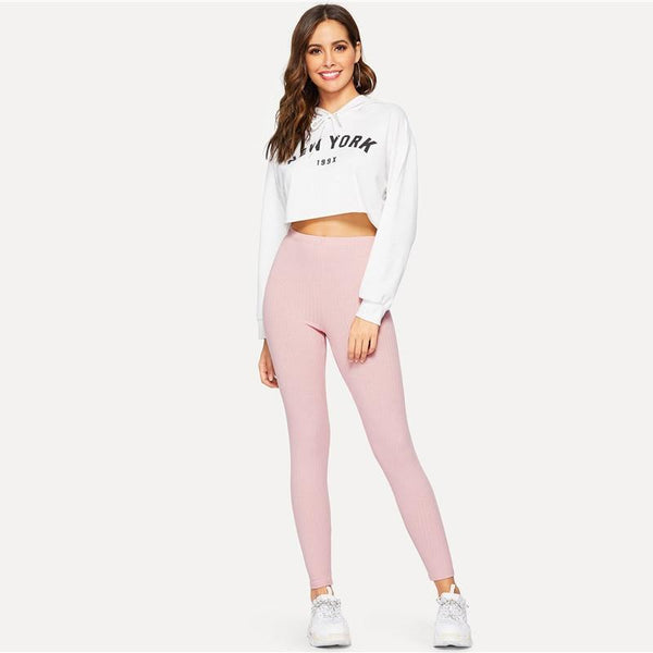 High Waist Rib Knitted Casual Leggings - Dots Clothing Store