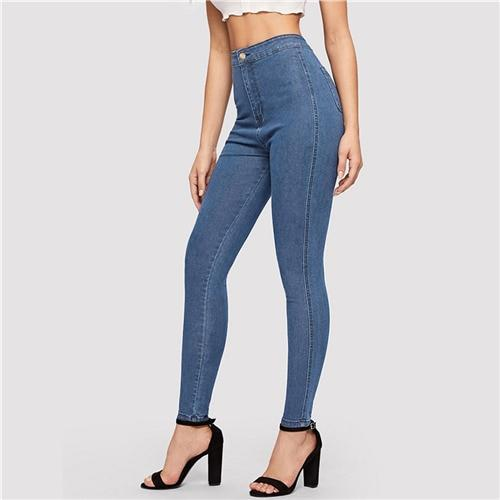 High Waist Skinny Denim Pants - Dots Clothing Store