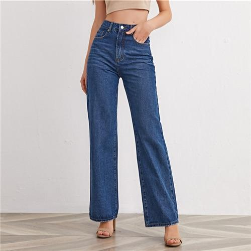 High Waist Straight Leg Jeans - Dots Clothing Store