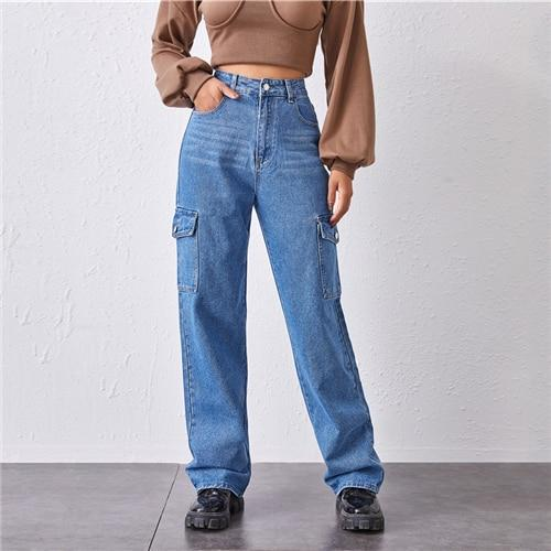 High-Waisted Patch Pocket Straight Jeans - Dots Clothing Store