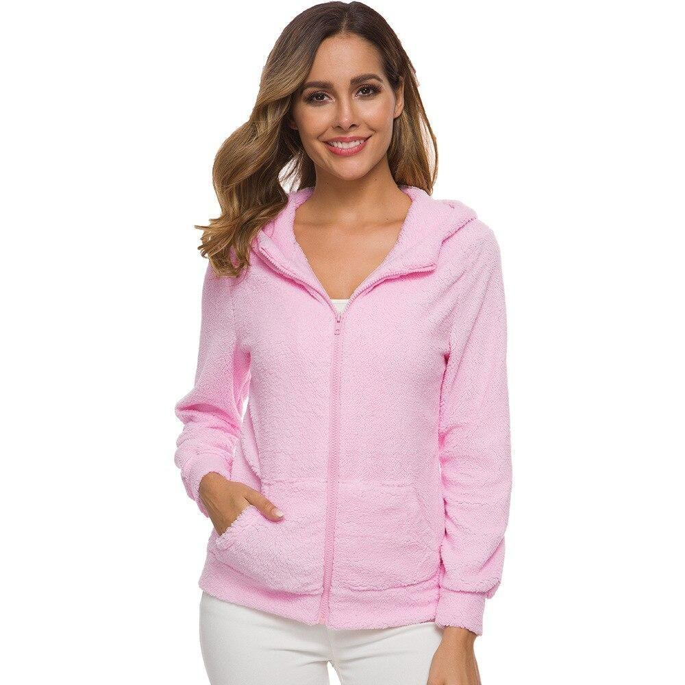 Hooded Soft Fleece Zip-up Top - Dots Clothing Store