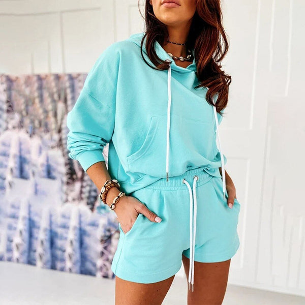 Hoodies Sweatshirt + Sporting Shorts Set - Dots Clothing Store