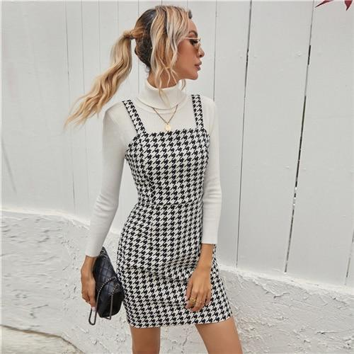 Houndstooth Print Cami Straps Dress - Dots Clothing Store