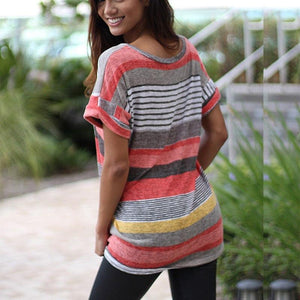 Irregular Short Sleeve Stripe Tee - Dots Clothing Store