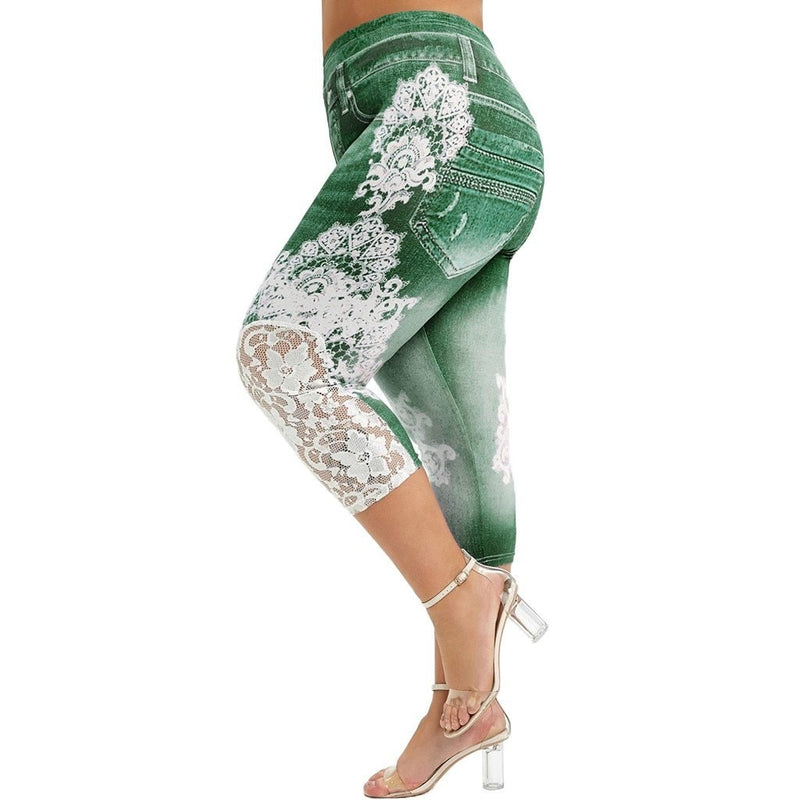 Lace overlay splicing leggings - Dots Clothing Store