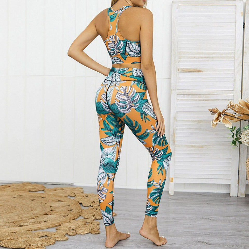 Leaf Digital Print Crop Top and High Waist Pants Tracksuit - Dots Clothing Store