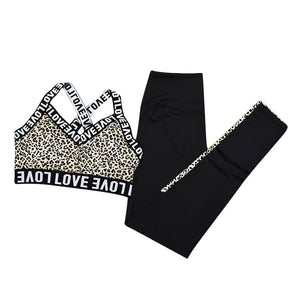 Leopard Letter Print Patchwork Crop Top and High Waist Pants - Dots Clothing Store