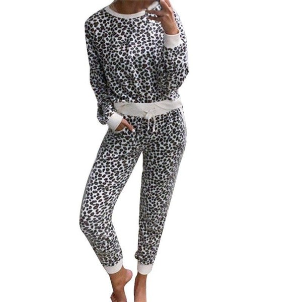 Leopard Long Sleeve Top and Pocket Pants Sets - Dots Clothing Store