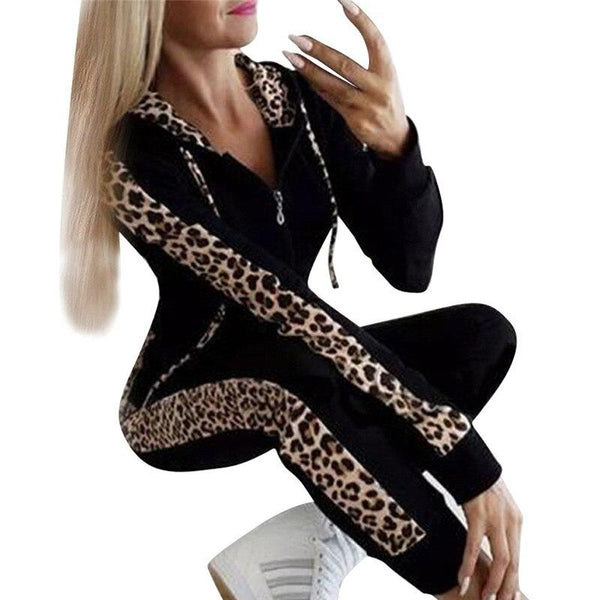 Leopard Printed Drawstring Hooded Top and Pants - Dots Clothing Store