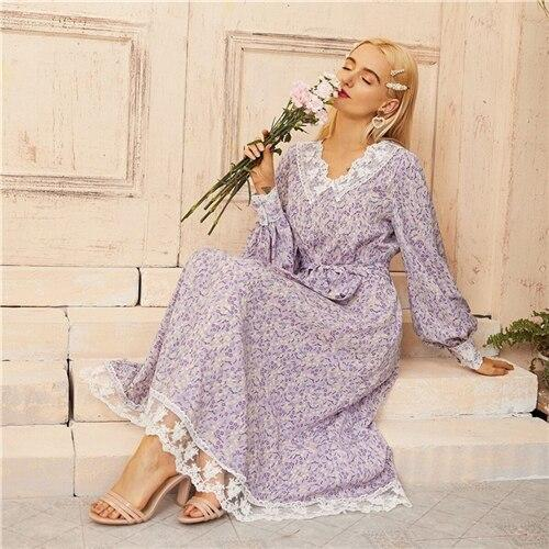 Lilac Purple Lace Detail Belted Ditsy Floral Dress - Dots Clothing Store