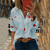 Long Sleeve Print Button Up Top - Dots Clothing Store