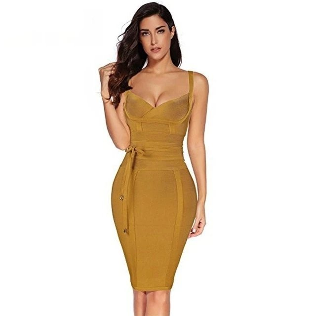 Love forever Spaghetti Strap Bodycon Dress - Dots Clothing Store