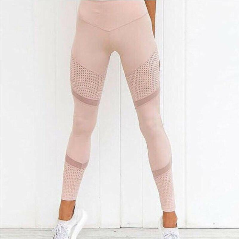 Mesh Patchwork Exercise Leggings - Dots Clothing Store