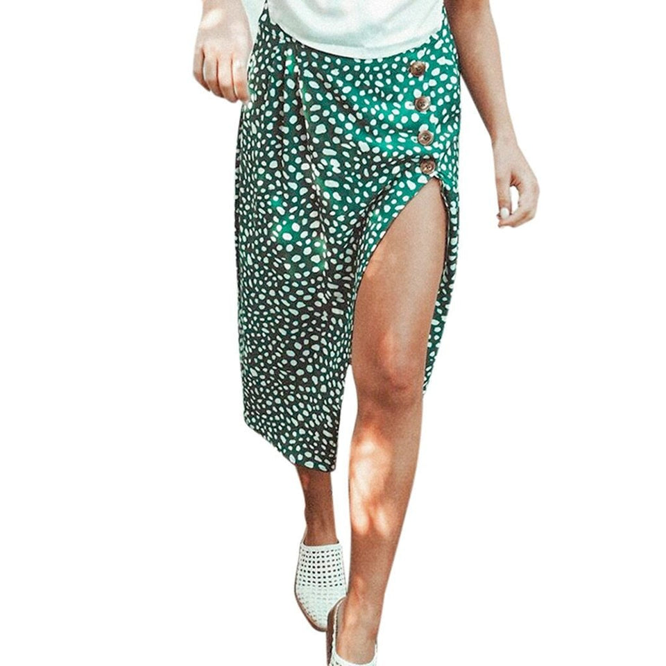 Mid Calf split white dots skirt - Dots Clothing Store