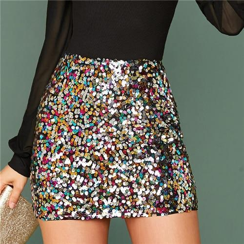 Multicolor Glamorous Colorful Sequin Skirts - Dots Clothing Store