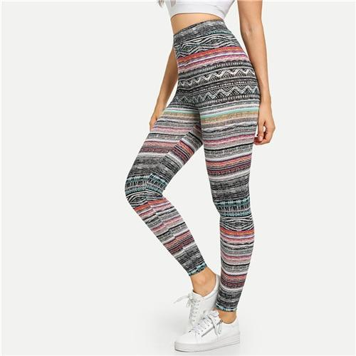 Multicolor High Waist Tribal Print Leggings - Dots Clothing Store