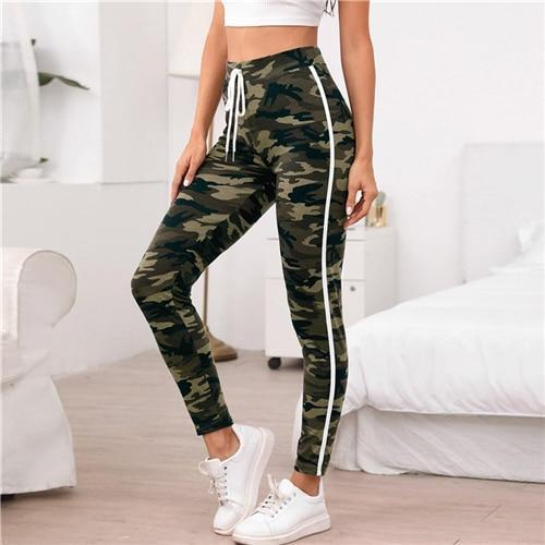 Multicolor Knot Waist Sideseam Camo Pants - Dots Clothing Store