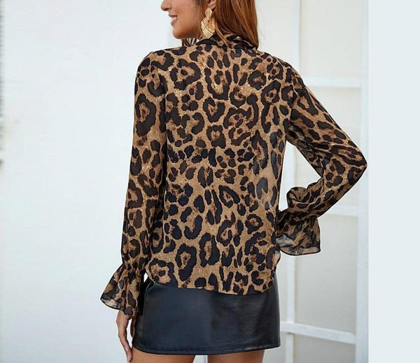 Multicolor Tie Neck Flounce Sleeve Leopard Top - Dots Clothing Store