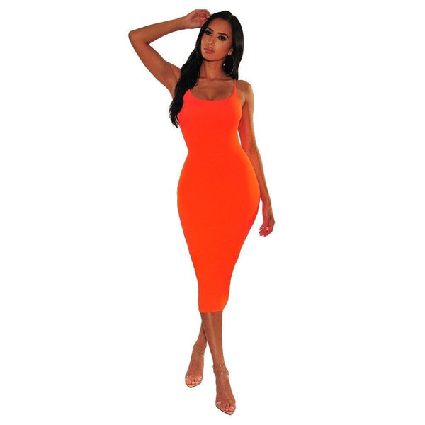 Neon Spaghetti Strap Bodycon Dress - Dots Clothing Store