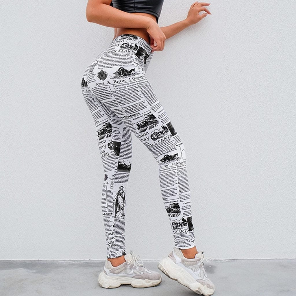 Newspaper print workout leggings - Dots Clothing Store