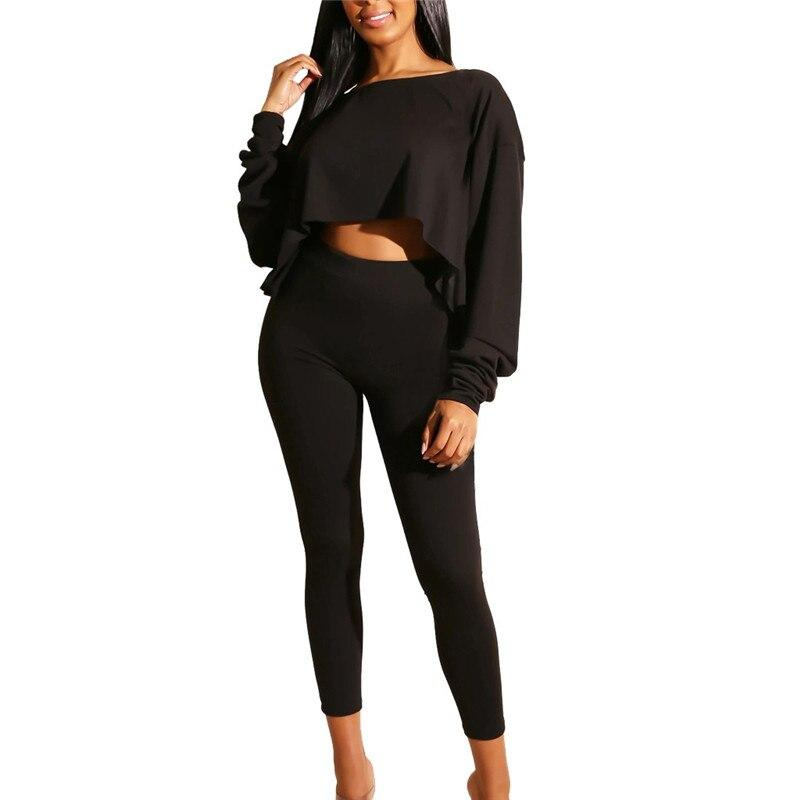 Off Shoulder Long Sleeve Tight Top and Long Pant Set - Dots Clothing Store