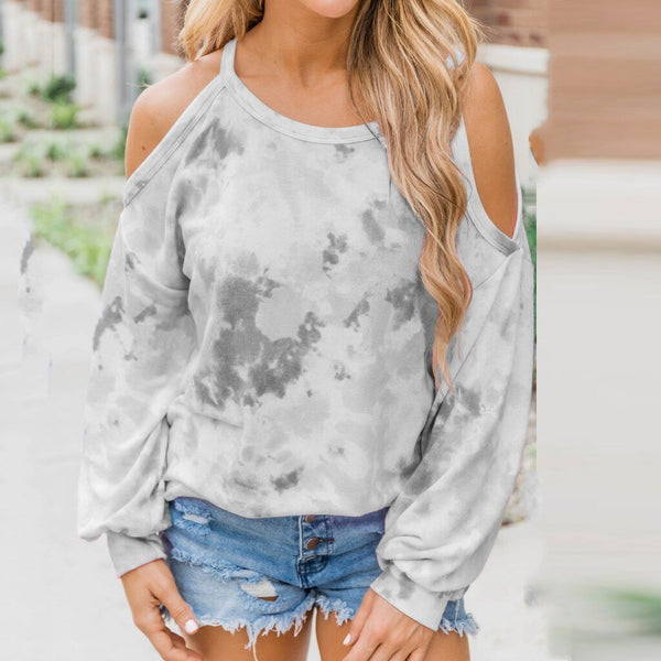 Off Shoulder Tie-Dye Print Loose Top - Dots Clothing Store