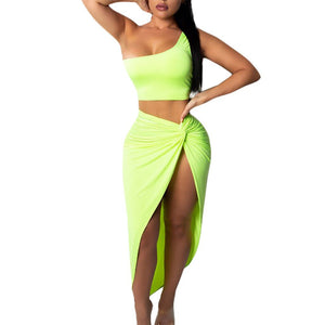 One Shoulder Crop Top and Split Skirt - Dots Clothing Store
