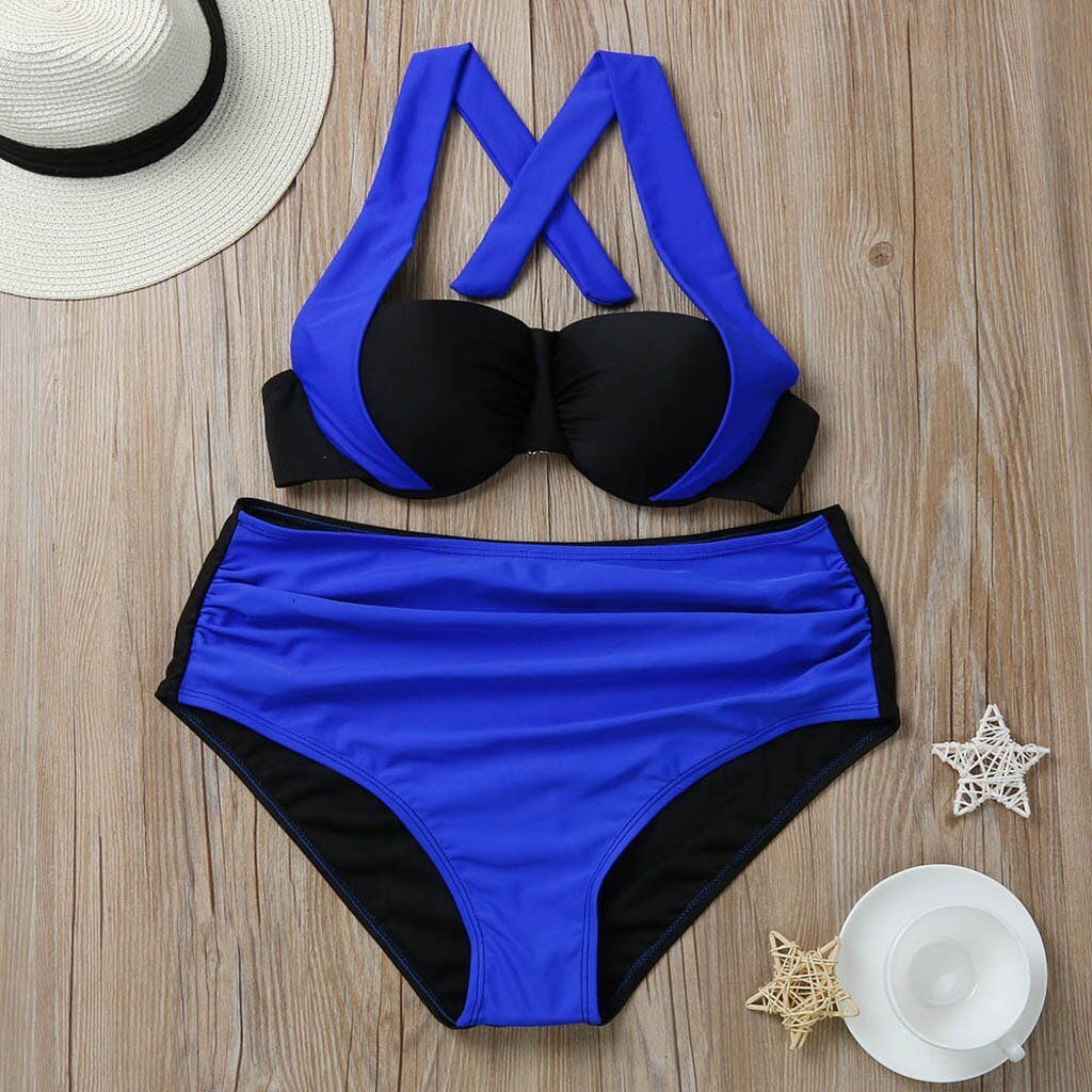 Patchwork High Waist Swimsuit - Dots Clothing Store