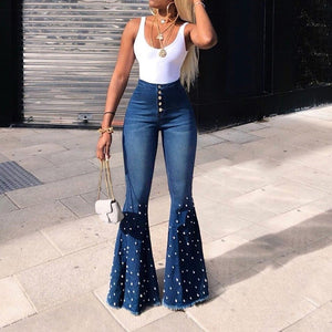 Pearl beading bell bottom jeans - Dots Clothing Store