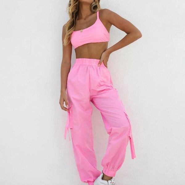 Pink Crop Top and Pants Tracksuit - Dots Clothing Store