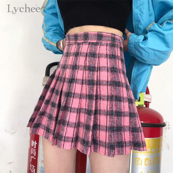 Plaid Pleated High Waist Skirt - Dots Clothing Store